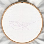 [Pinnacle Ridge line drawing on silk]
